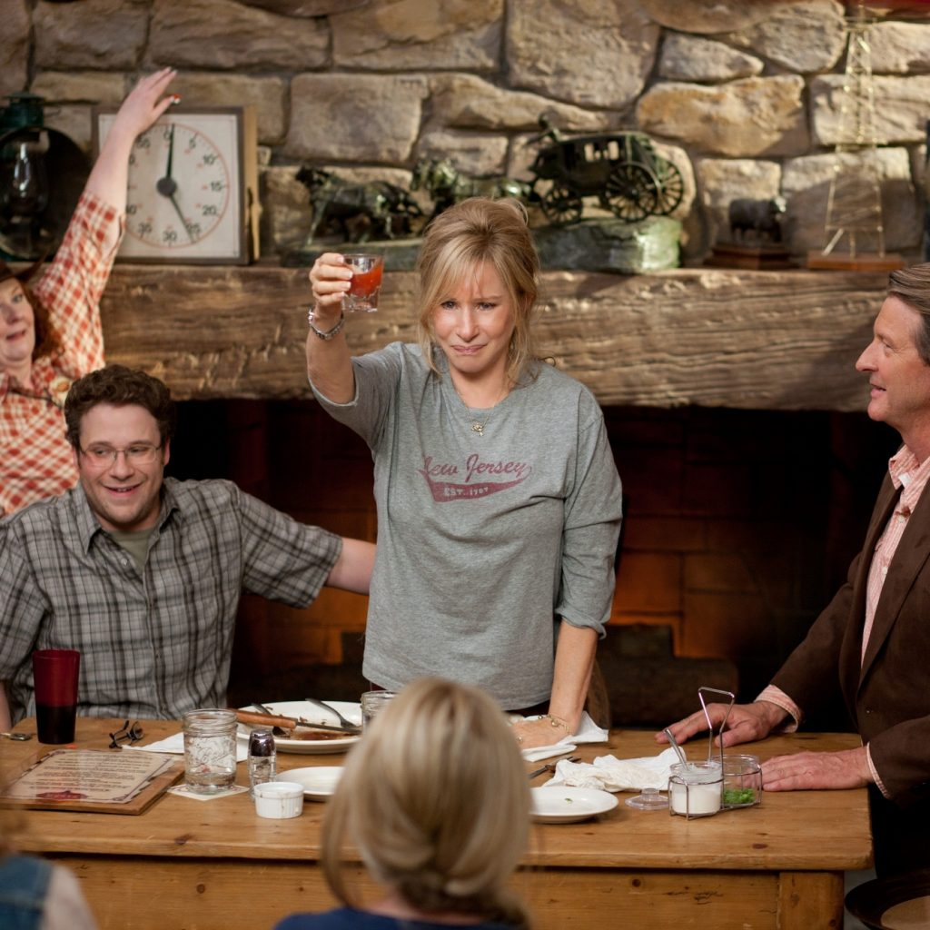 Photo credit: Sam Emerson Left to right: Lorna Scott is Waitress (standing, left), Seth Rogen is Andrew Brewster (sitting, left), Barbra Streisand is Joyce Brewster (center), and Brett Cullen is Ben Graw (sitting, right) in THE GUILT TRIP, from Paramount Pictures and Skydance Productions. (c) 2012 Paramount Pictures. All Rights Reserved.